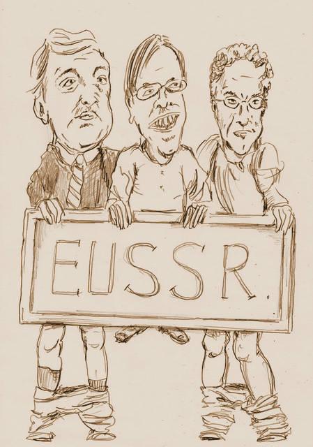 Barosso, Verhofstad en Dijsselbloem cartoon