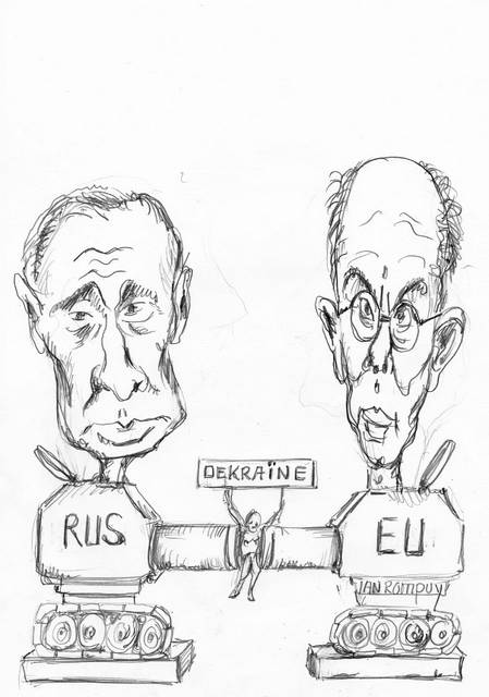Putin Poetin  met van Rompuy cartoon