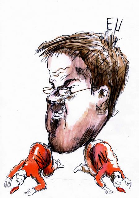 Mark Rutte karikatuur portret.