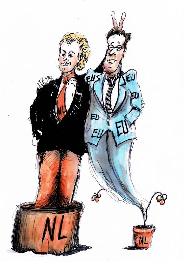 Geert Wilders PVV cartoon versus pierewaaier Mark Rutte.